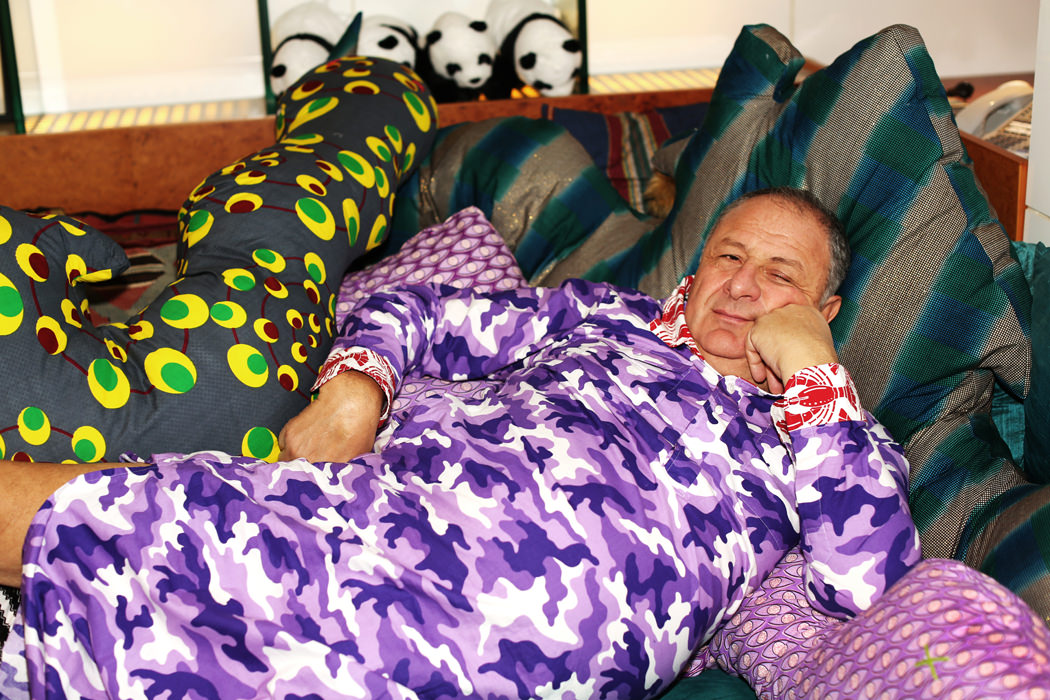 "Jean Pigozzi samples fabrics for ""Hungry Snake"" Pillow"