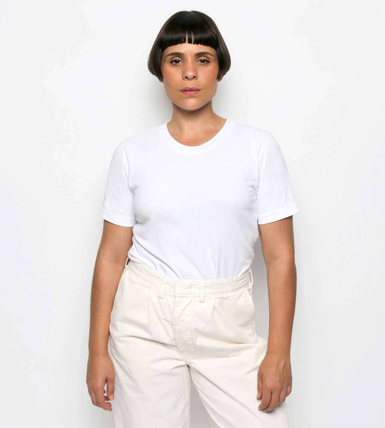 Irene in the Women's Recycled Cotton Tailored T-shirt