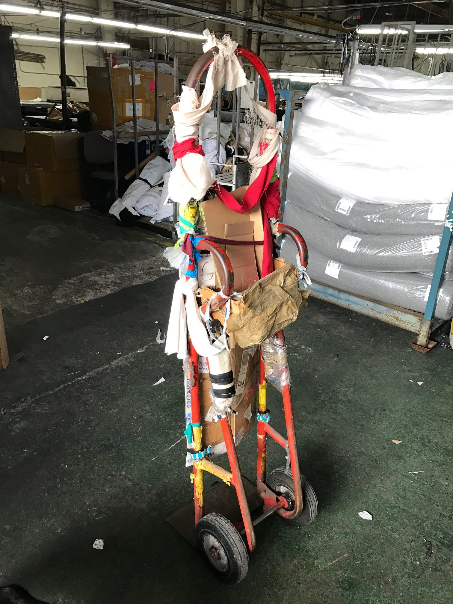 Factory dolly decorated with scraps