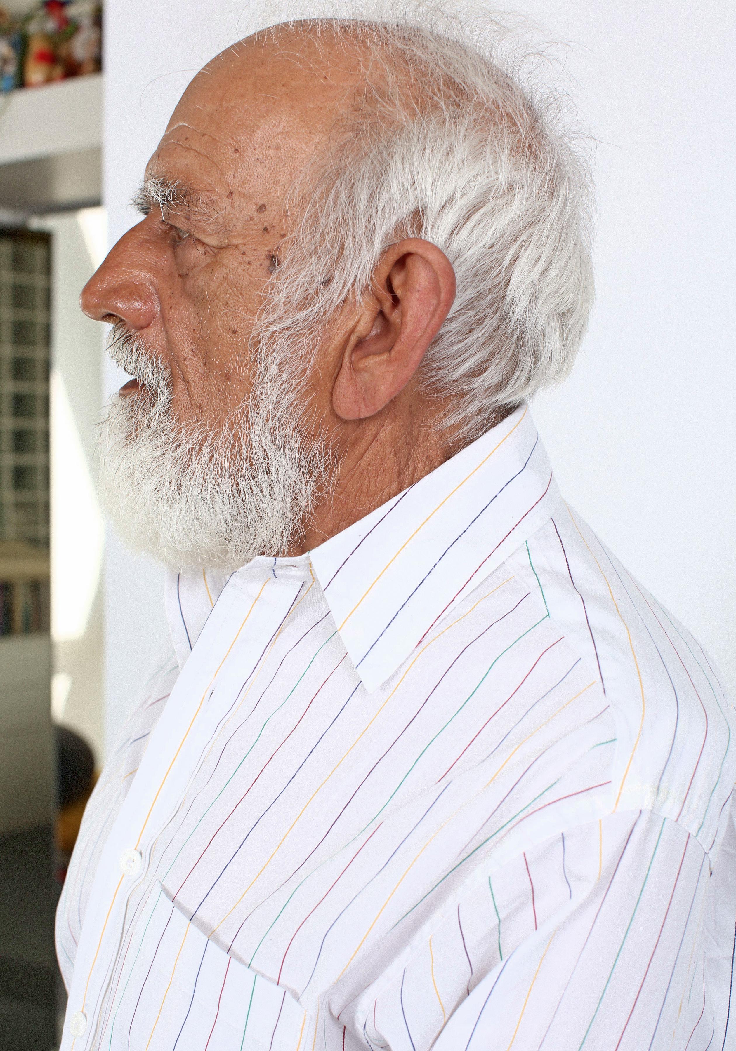 Detail of Prakash in Rainbow Stripe Button Down