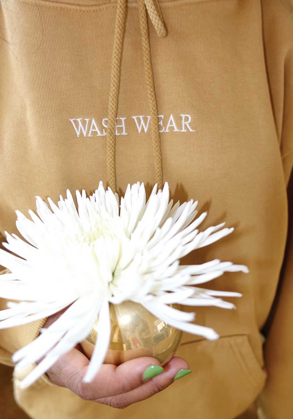Wash Wear Embroidered Hoodie Peanut Butter