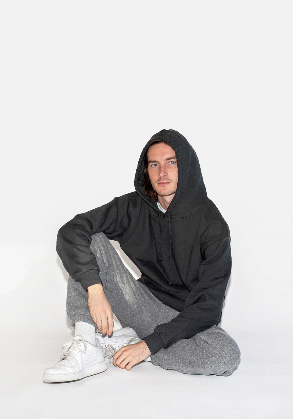 Cotton Fleece Hoodie Faded Black